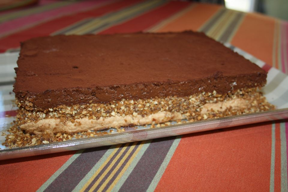 marquise glacee au chocolat noir et aux amandes