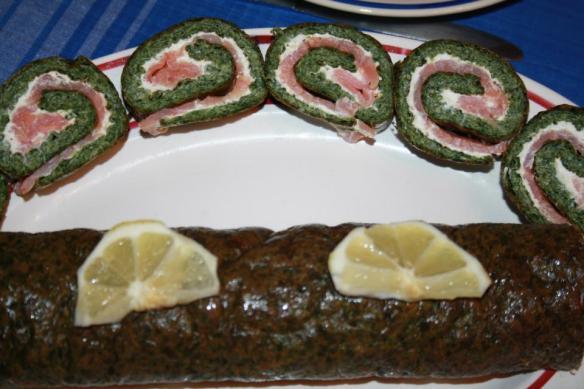 Roulé d'épinard au saumon et boursin