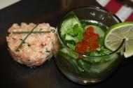 Oeufs de saumon en gelée au concombre et herbes fraiches