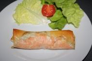 Rouleaux de saumon asperges et ricotta
