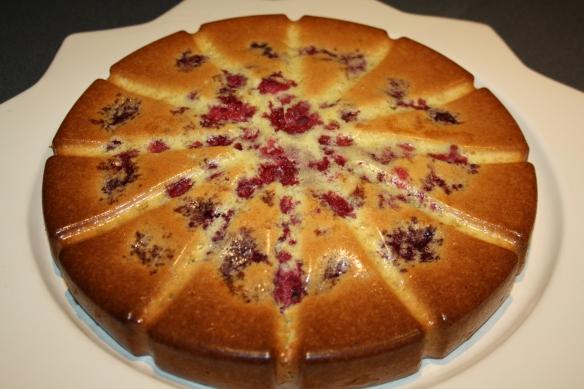 Gâteau moelleux pistache citron vert brisures de framboises