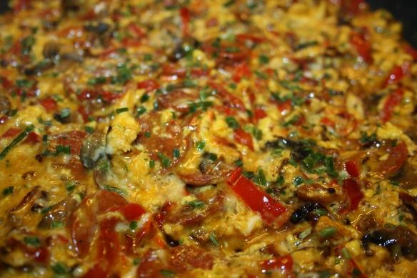 Omelette chorizo poivrons champignons